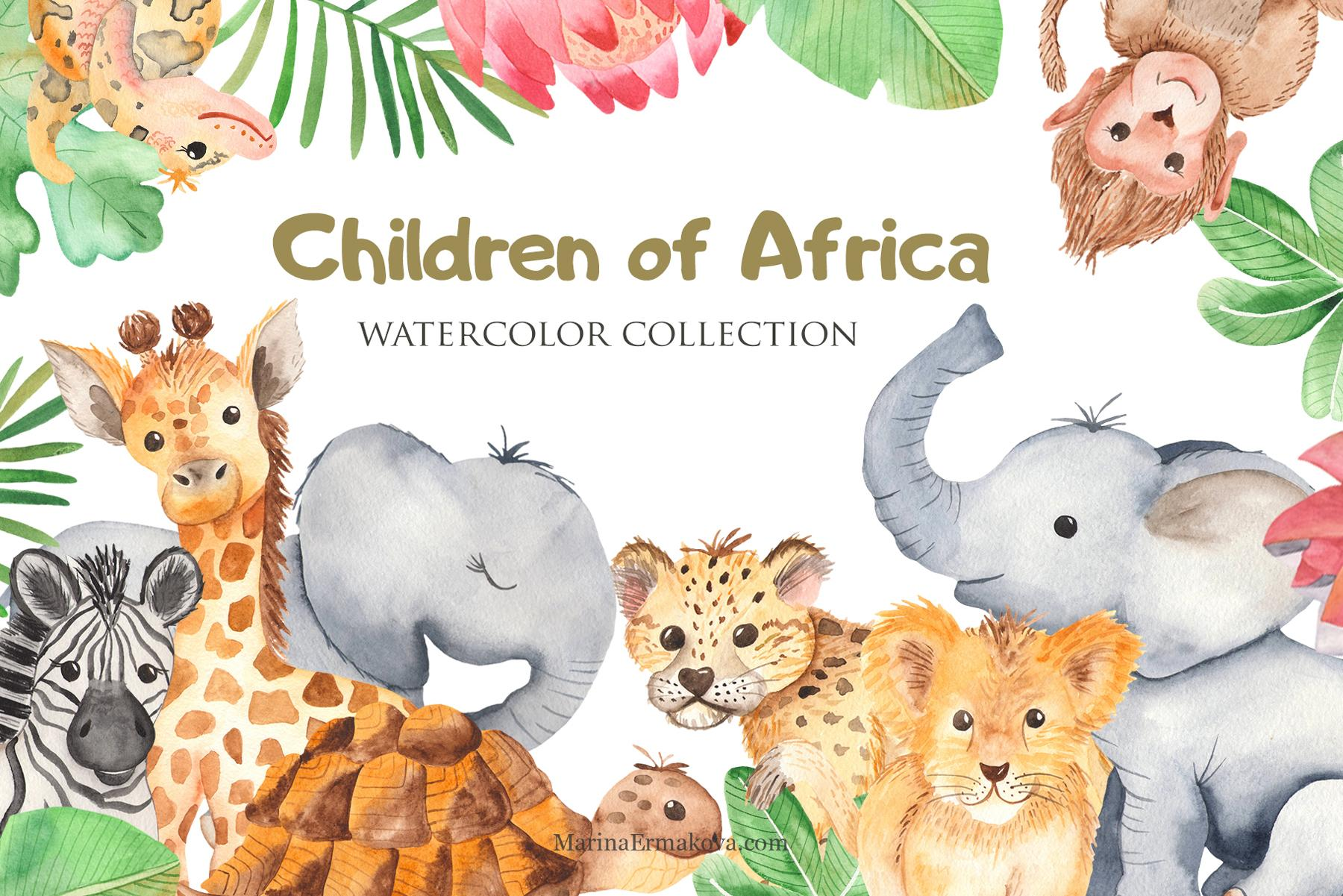 Cute African animals watercolor clipart