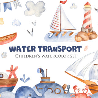Cute cartoon water transport watercolor collection clipart