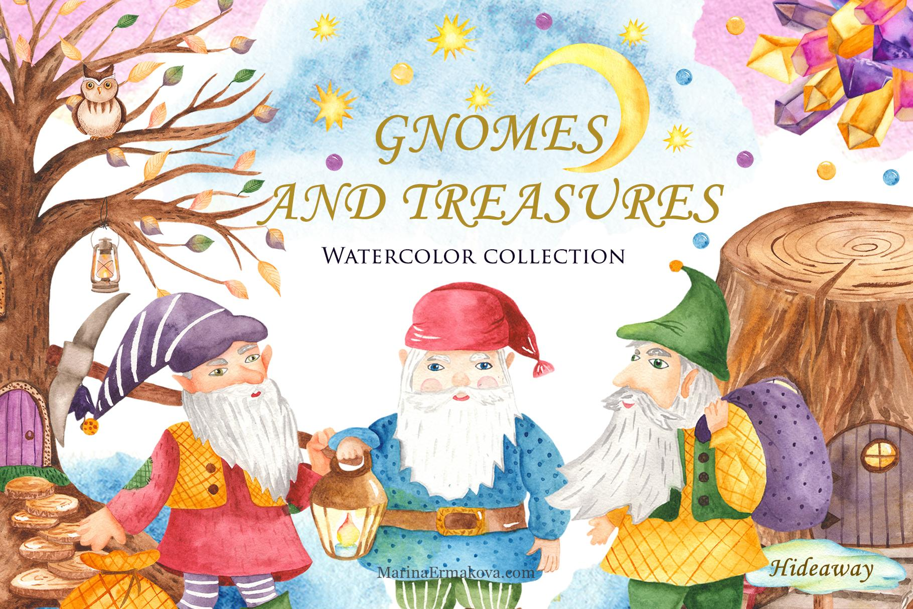 Gnomes and treasures watercolor collection clipart