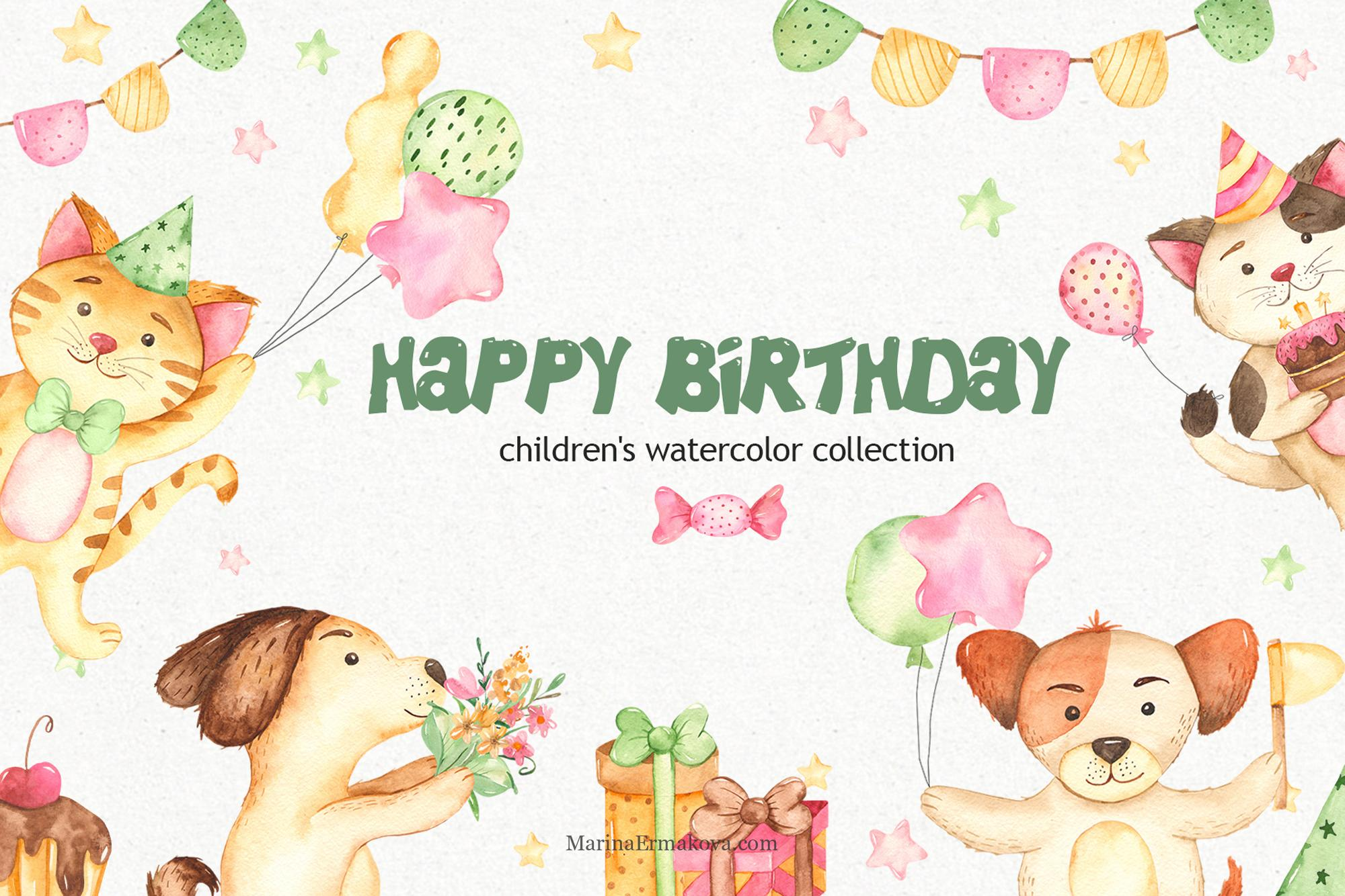 Childrens birthday in watercolor with dog and cat