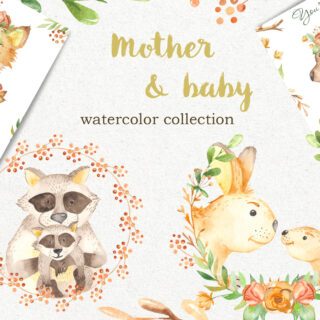Mother and baby animal mothers day watercolor clipart