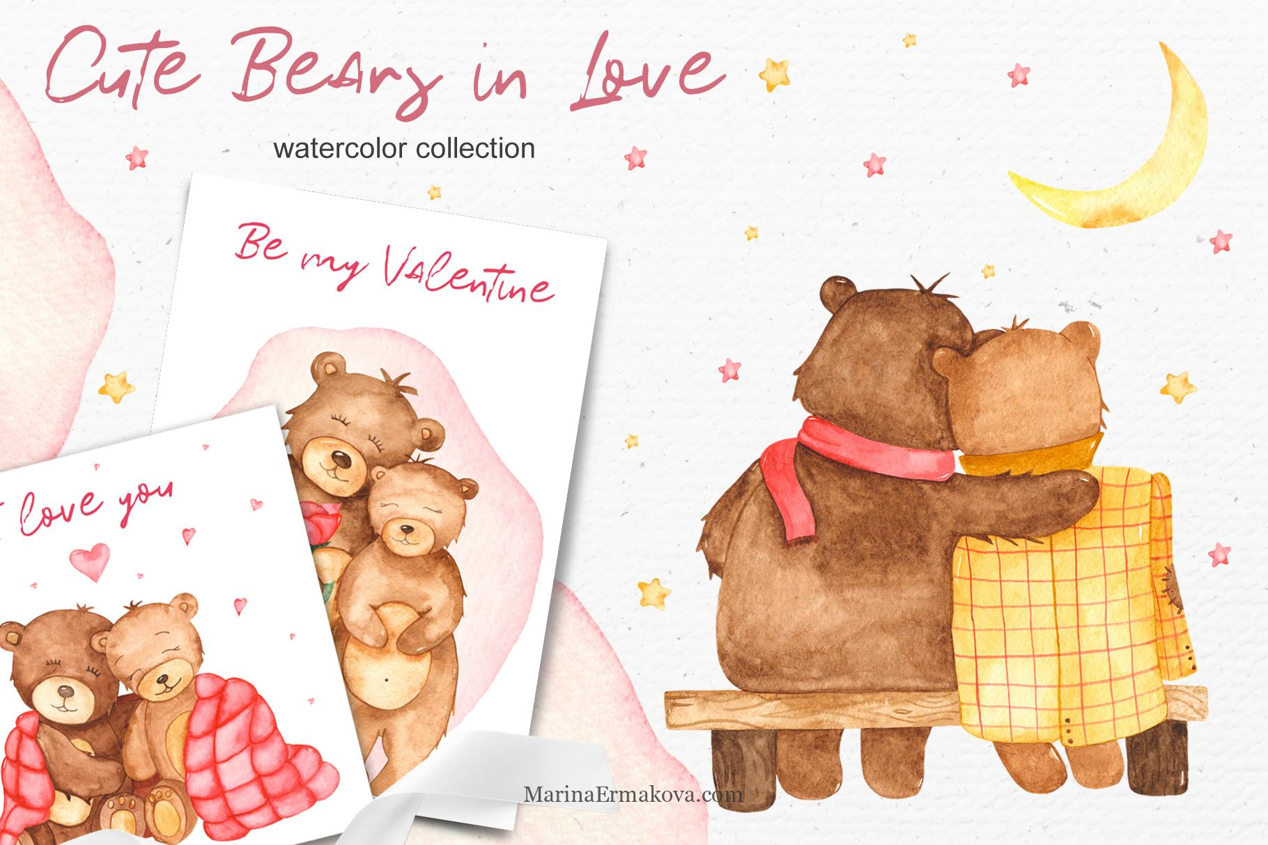 Cute bears in love watercolor