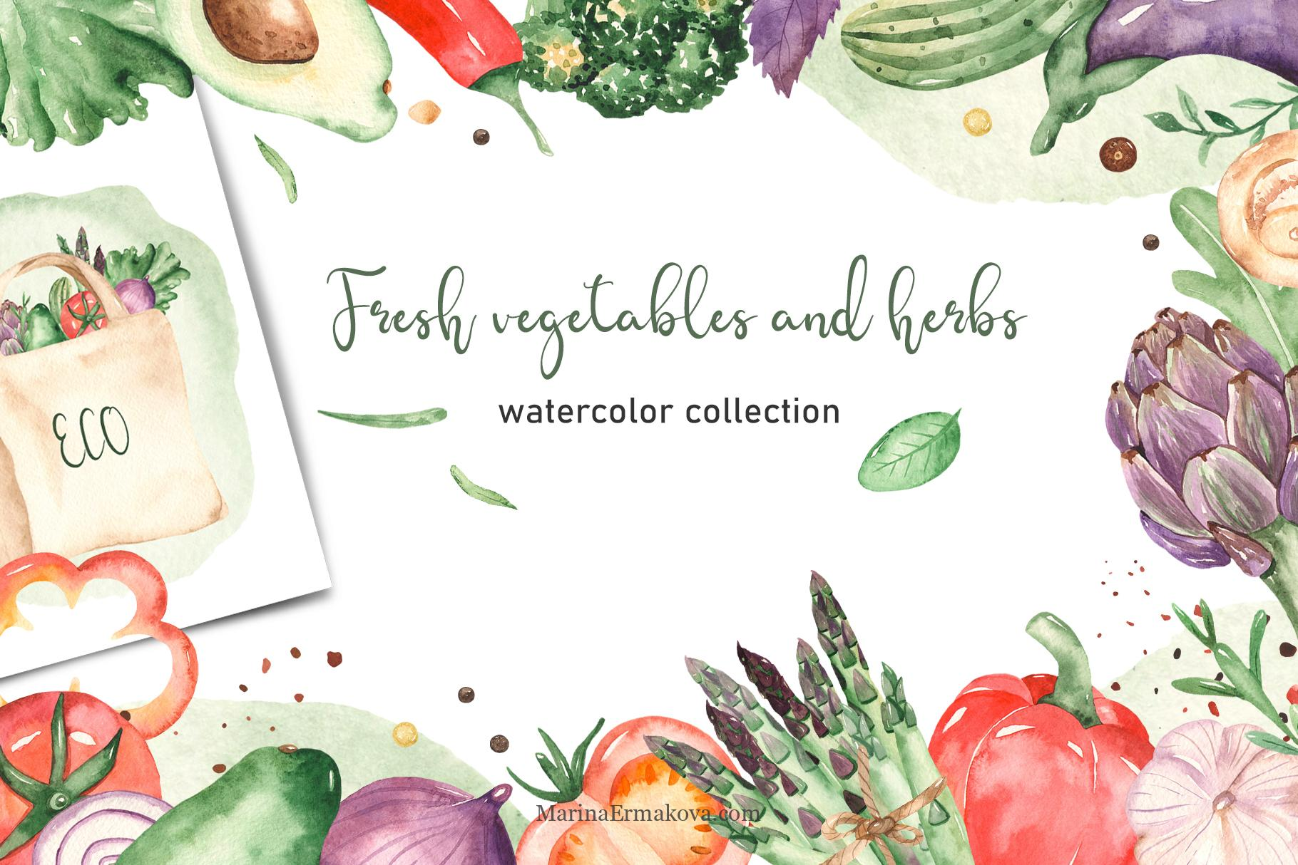 Fresh vegetables and herbs watercolor clipart