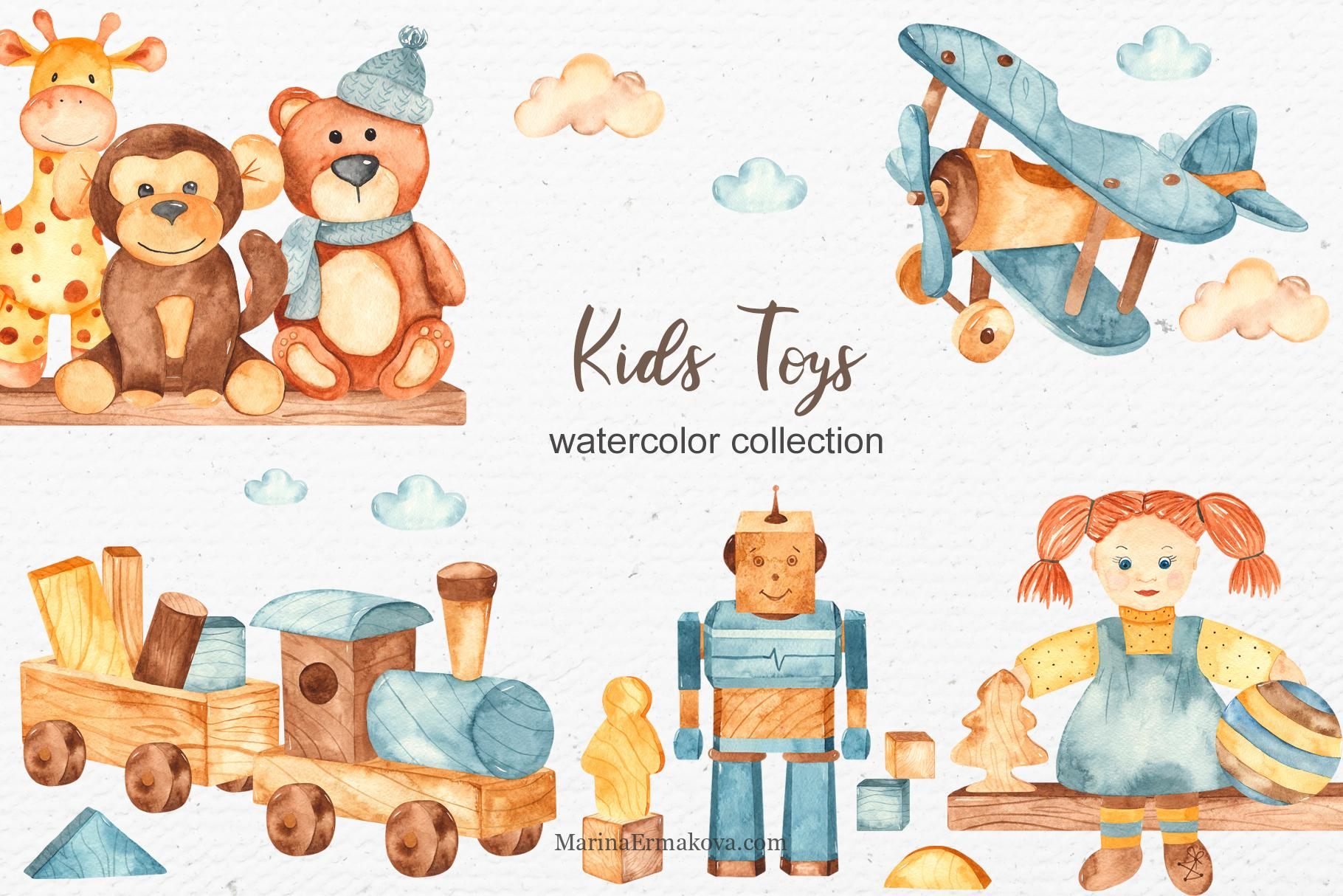 Kids toys watercolor collection
