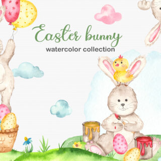 Cute Easter Bunny watercolor clipart