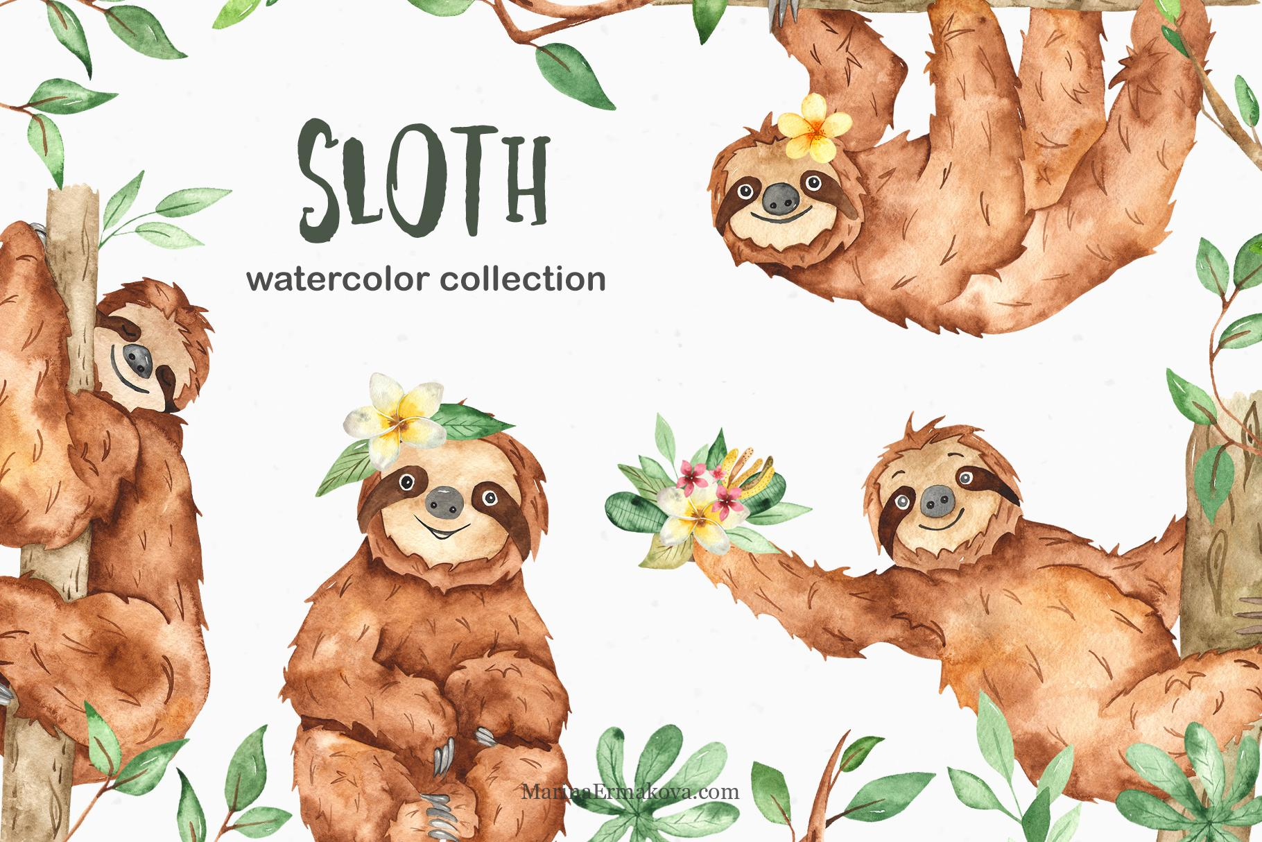 Sloths watercolor clipart cover