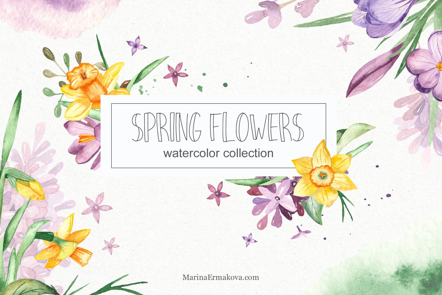 Watercolor spring flowers clipart