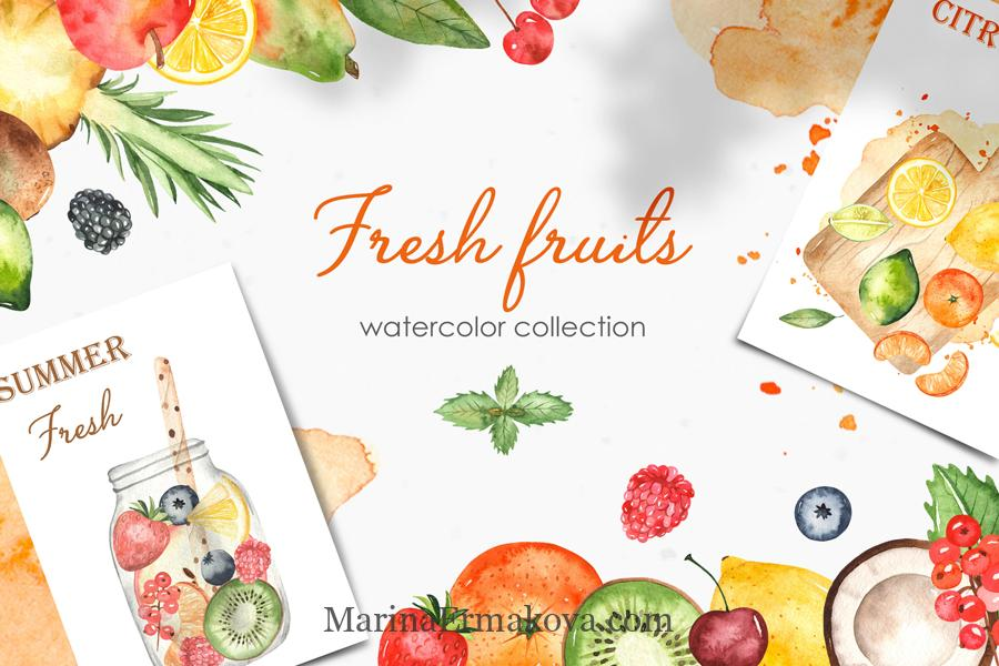 Watercolor fresh fruits and berries cover