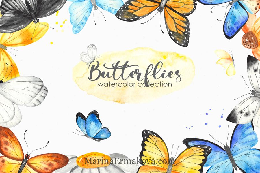 Butterflies watercolor cover collection