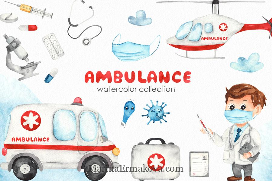 Watercolor ambulance children collection