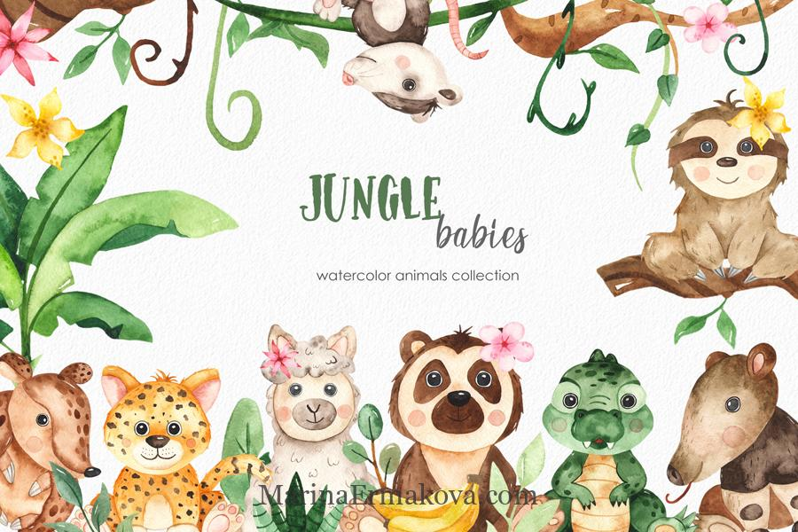 Watercolor jungle animals babies
