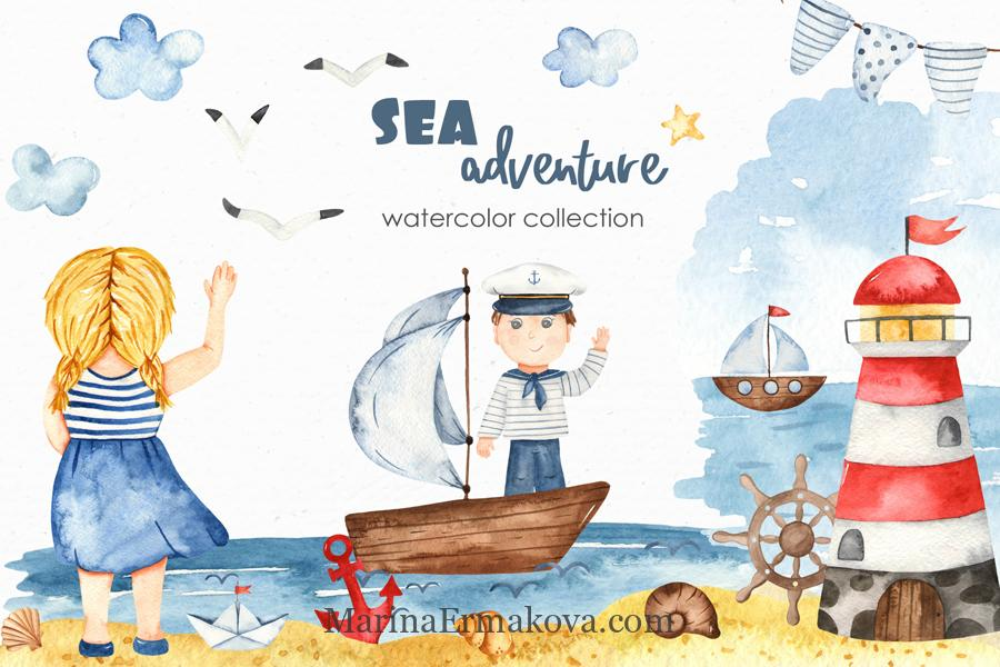 Sea adventure watercolor