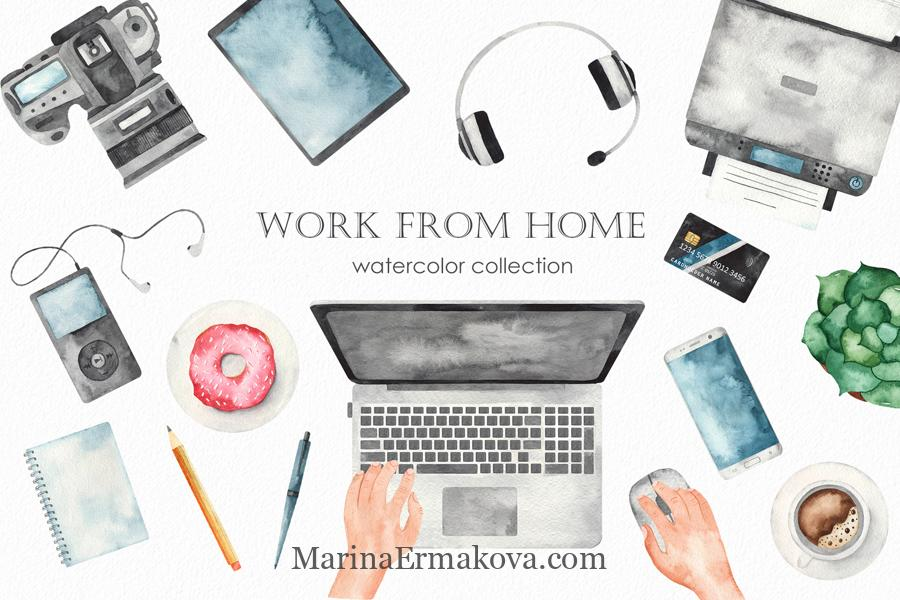 Work from home watercolor