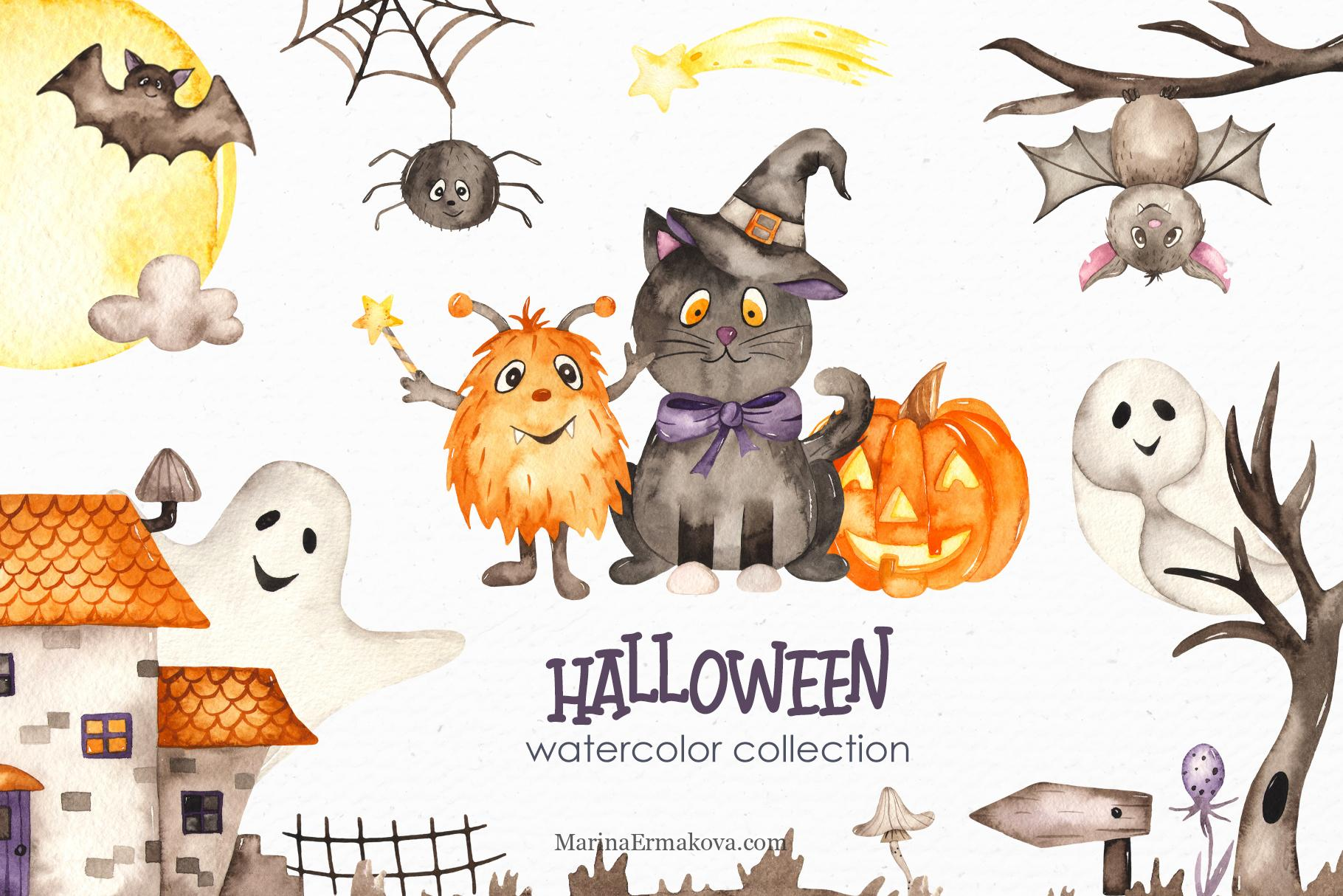 Halloween watercolor kids cover collection