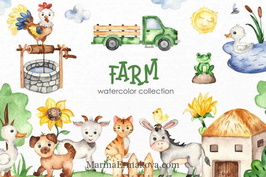 Farm watercolor kids collection