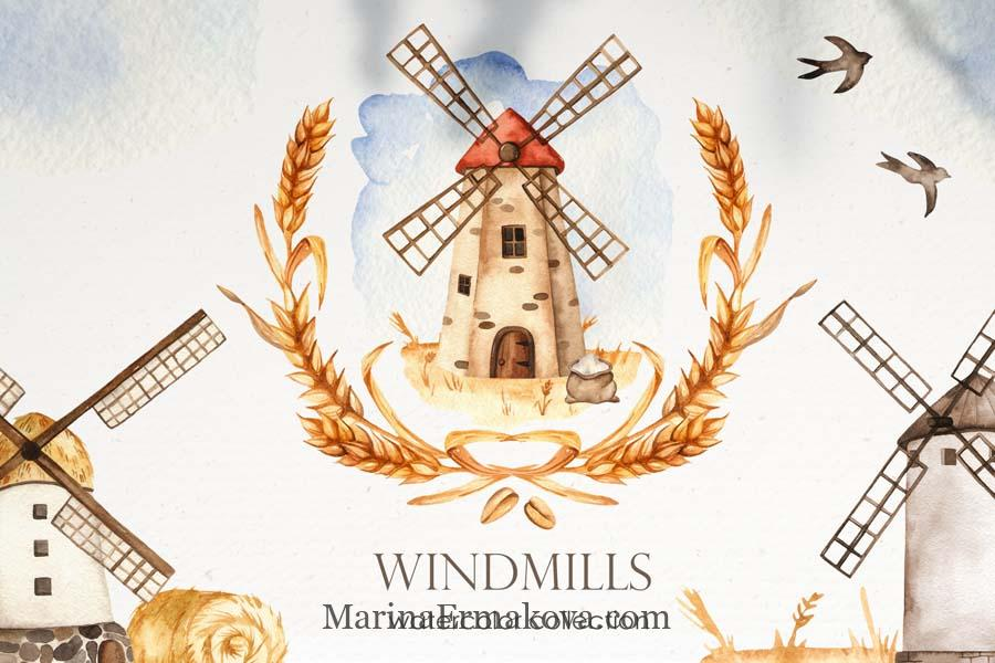 Watercolor windmills