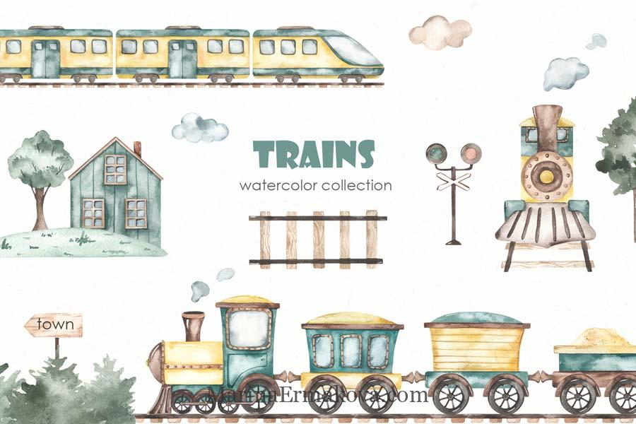 Childrens watercolor collection with trains