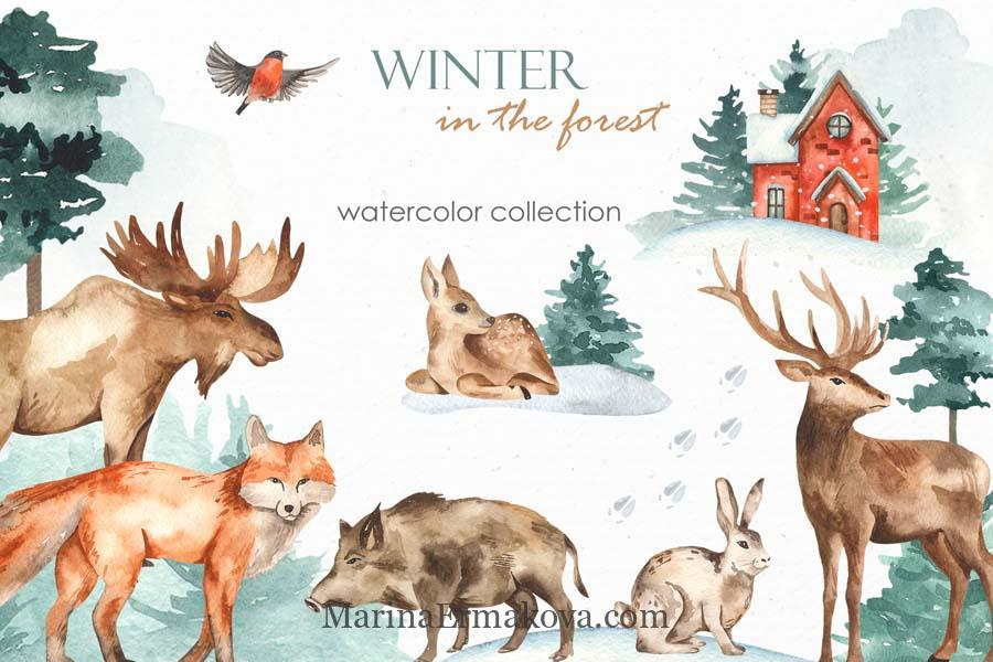 Watercolor collection winter in the forest cover