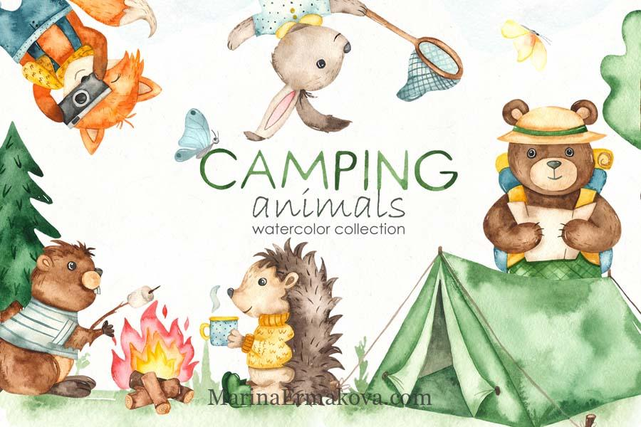 Watercolor kids collection camping animals