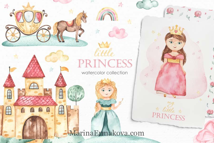 Watercolor little princess childrens collection