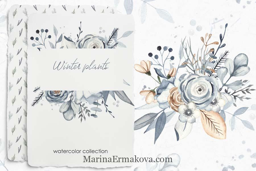 Watercolor winter christmas plants cover