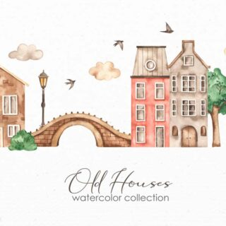 Watercolor collection old houses