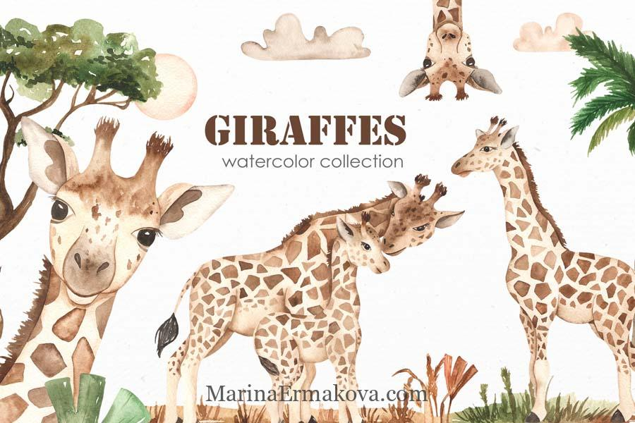 Watercolor set with cute giraffes