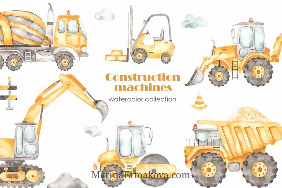 Construction machines watercolor