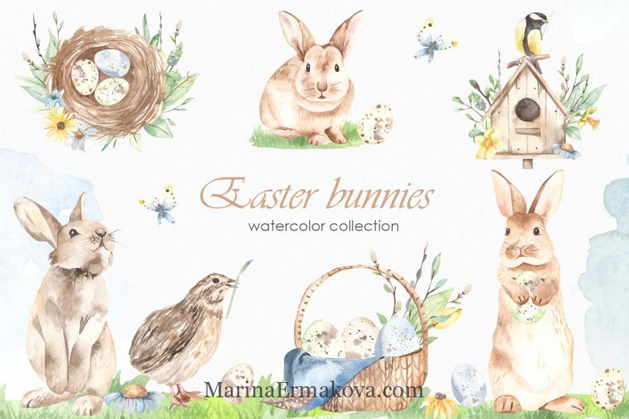 Easter bunnies watercolor