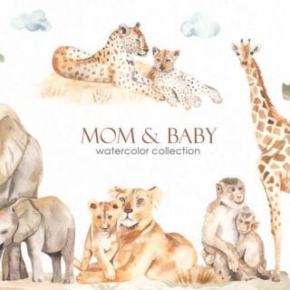 Mom and baby Africa watercolor