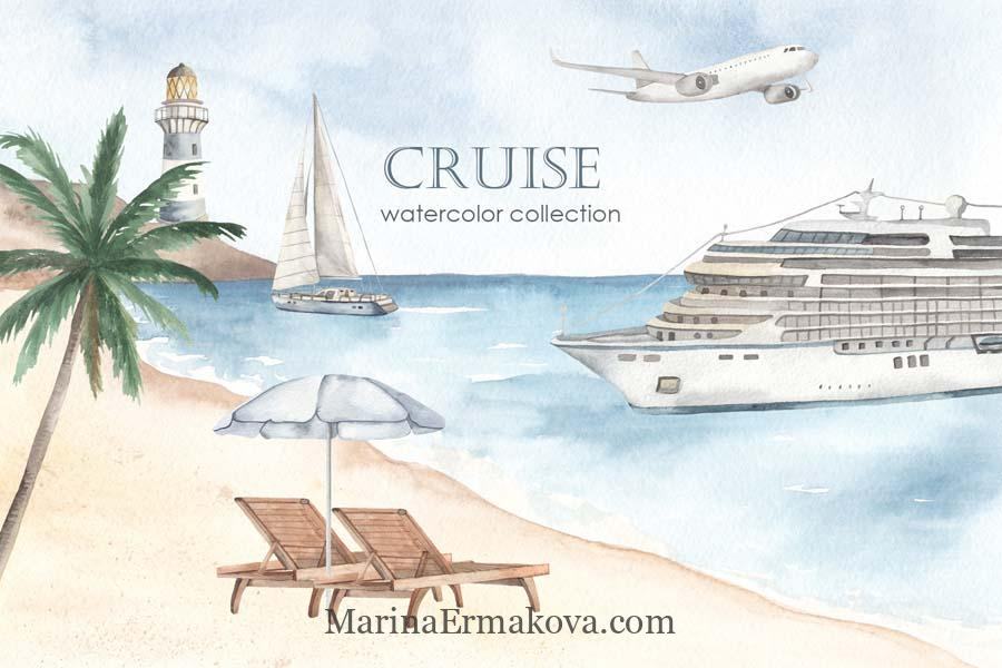 Watercolor sea cruise